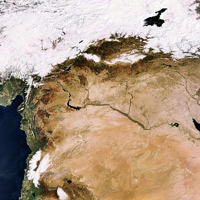 Le Moyen-Orient enneigé vu par Envisat